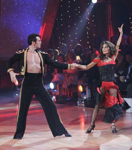 In this image released by ABC, Susan Lucci and her partner Tony Dovolani perform on stage during &#34;Dancing With the Stars,&#34; Monday, Nov. 3, 2008, in the Hollywood section of Los Angeles. The couple were eliminated Wednesday from ABC&#39;s popular dancing competition.  <span class=meta>(&#40;AP Photo&#47;ABC, Kelsey McNeal&#41;)</span>